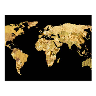 金ゴールドホイルの地図 はがき