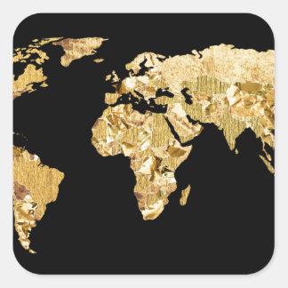 金ゴールドホイルの地図 スクエアシール