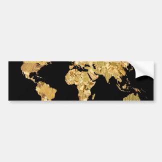金ゴールドホイルの地図 バンパーステッカー
