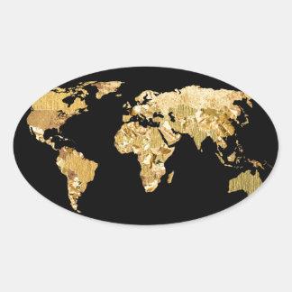 金ゴールドホイルの地図 楕円形シール