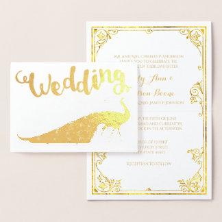 金ゴールドホイルの孔雀のタイポグラフィの結婚式招待状 箔カード