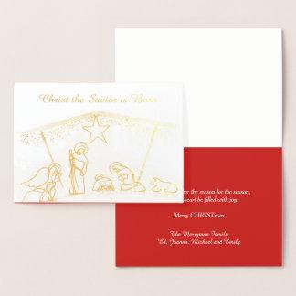 金ゴールドホイルの宗教飼い葉桶のクリスマス 箔カード