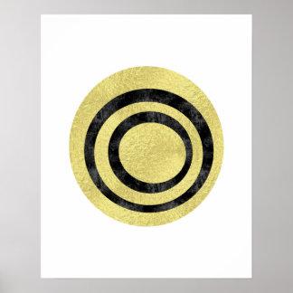 金ゴールドホイルの幾何学的な芸術の円の芸術の近代美術 ポスター