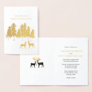 金ゴールドホイルの森林森林マツトナカイの結婚式 箔カード
