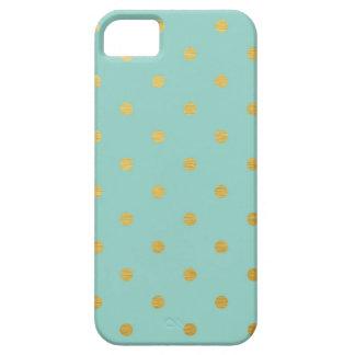 金ゴールドホイルの水玉模様の金属モダンなティール(緑がかった色)のミント iPhone SE/5/5s ケース