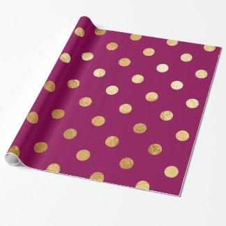 金ゴールドホイルの水玉模様パターン包装紙のプラム ラッピングペーパー
