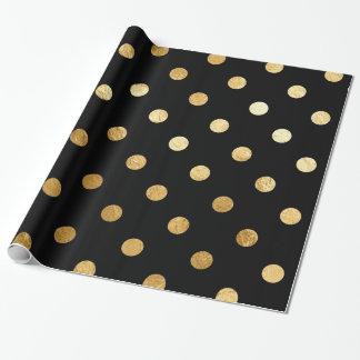 金ゴールドホイルの水玉模様パターン包装紙の黒 ラッピングペーパー