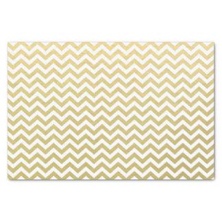 金ゴールドホイルの白いシェブロンパターン 薄葉紙