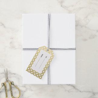 金ゴールドホイルの白いダイヤモンドの円パターン ギフトタグ