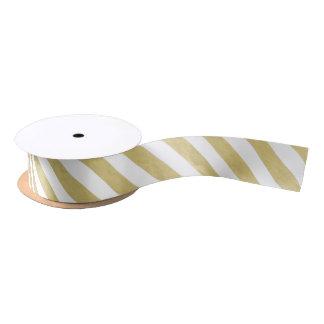 金ゴールドホイルの白のストライプパターン サテンリボン