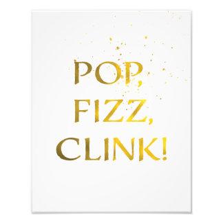金ゴールドホイルの破裂音、フィズ、CLINKの結婚披露宴の印 フォト
