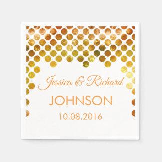 金ゴールドホイルの紙吹雪の結婚式 スタンダードカクテルナプキン