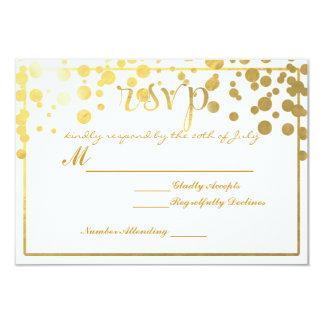 金ゴールドホイルの紙吹雪RSVPの結婚式の招待状の招待 カード