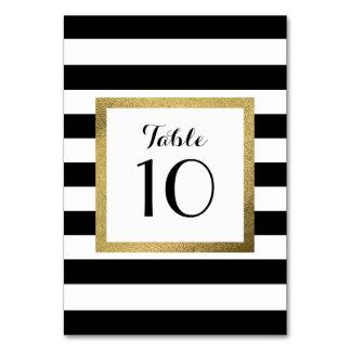 金ゴールドホイルの結婚式のテーブルが付いている黒い及び白のストライプ カード