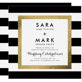 金ゴールドホイルの結婚式の黒い及び白のストライプ カード