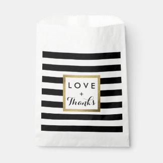 金ゴールドホイルの結婚式の黒い及び白のストライプ フェイバーバッグ