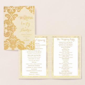 金ゴールドホイルの結婚式プログラムの大きいダマスク織 箔カード