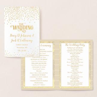 金ゴールドホイルの結婚式プログラムの紙吹雪のタイポグラフィ 箔カード