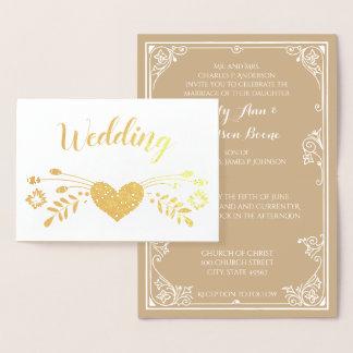 金ゴールドホイルの花のタイポグラフィの結婚式招待状 箔カード