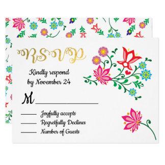 金ゴールドホイルの花のメキシコ結婚式のフェスタRSVP カード