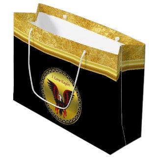 金ゴールドホイルの質の漫画の赤くおよび黒いワシ ラージペーパーバッグ