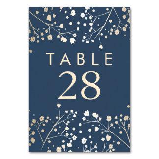 金ゴールドホイルの赤ん坊の呼吸海軍結婚式のテーブル数