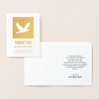 金ゴールドホイルの鳩の悔やみや弔慰のサンキューカード 箔カード