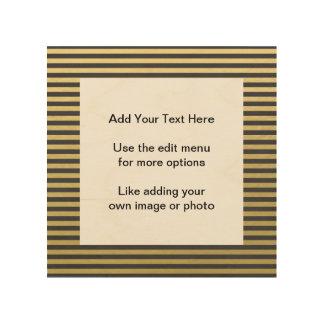 金ゴールドホイルの黒はパターンを縞で飾ります ウッドウォールアート
