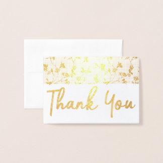 金ゴールドホイルカード花柄パターンありがとう 箔カード