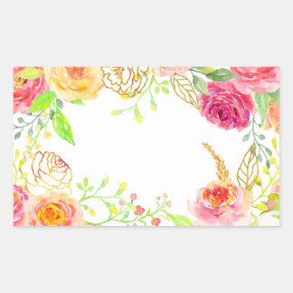金ゴールドホイルフレームを持つ水彩画のピンクのバラ 長方形シール