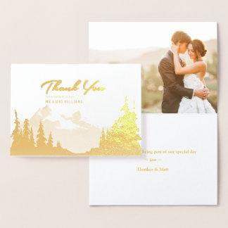 金ゴールドホイル山の結婚式の写真は感謝していしています 箔カード
