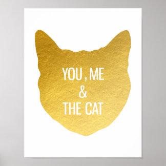 金ゴールドホイル猫私および猫の猫好きのギフト ポスター