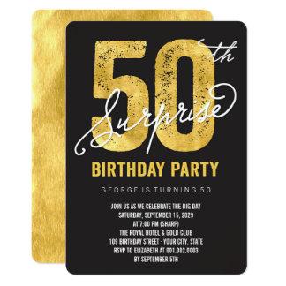 金ゴールドホイル第50の驚きの誕生会の招待 カード