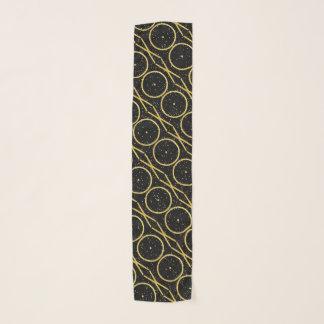 金ゴールドホイルXOの抱擁およびキス + グリッターの斑点 スカーフ
