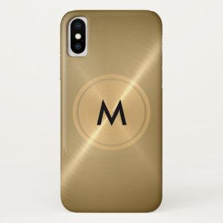 金ゴールドボタンそして青銅色のステンレス鋼の金属 iPhone X ケース