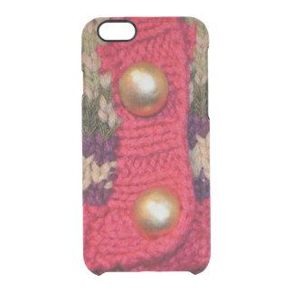 金ゴールドボタンのセーター クリアiPhone 6/6Sケース