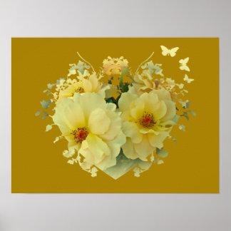 金ゴールドポスターの黄色バラのハート ポスター