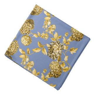 金ゴールド及びタマキビ青くモダンな花のToile バンダナ