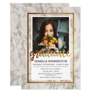 金ゴールド及び大理石のタイポグラフィ の写真の卒業パーティー 12.7 X 17.8 インビテーションカード