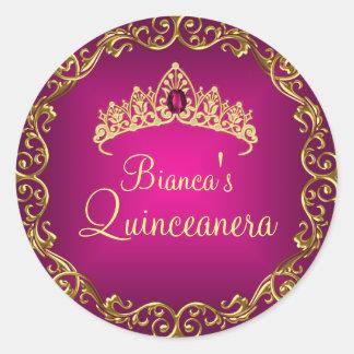 金ゴールド及び宝石のティアラのキンセアニェラのピンクのステッカー ラウンドシール