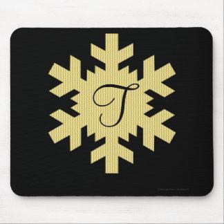 """""""金ゴールド及び白い格子縞""""の-モノグラム(a)の雪片 マウスパッド"""