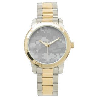 金ゴールド及び銀およびACUの迷彩柄の顔とツートーン 腕時計