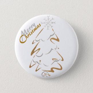 金ゴールド及び銀製のクリスマスツリー 缶バッジ