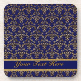 金ゴールド及び青いダマスク織パターン コースター