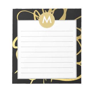 金ゴールド及び黒いブラシストロークモノグラムのイニシャル ノートパッド