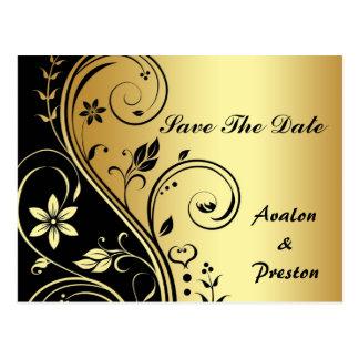 金ゴールド及び黒い花スクロール保存日付の郵便はがき ポストカード