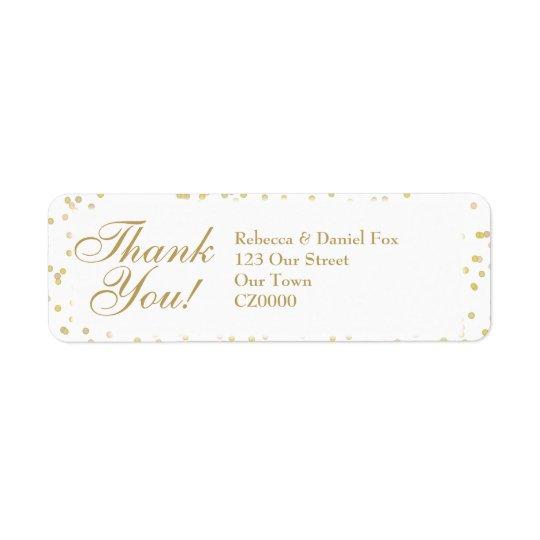 金ゴールド塵の紙吹雪の結婚式は感謝していしています 返信用宛名ラベル