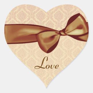 金ゴールド愛結婚式の弓ダマスク織のハートのステッカー ハートシール