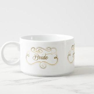 金ゴールド文字デザインな渦巻形のなフレームの花嫁 チリボウル
