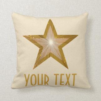 """""""金ゴールド星""""の「あなたの文字」の装飾用クッションの正方形のクリーム クッション"""